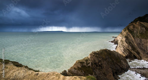 Landscape of sea storm approaching land