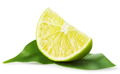 Slice of lime with leaves