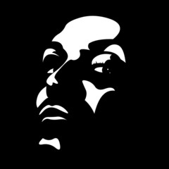 Woman face in shadow. High contrast vector.