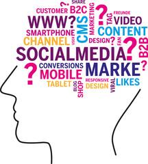 Kopf Wortwolke Social media