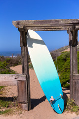 California surfboard on beach in Cabrillo Highway Route 1