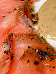 Gravlax smoked salmon slices