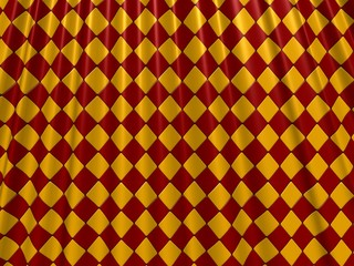 Crumpled red and yellow tapestry