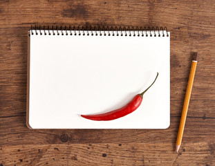 Blank notepad for recipes with pepper for your shopping list