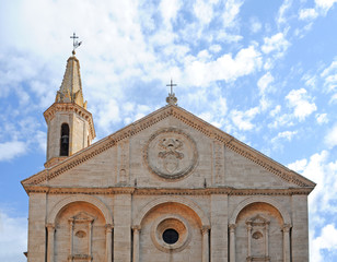 renaissance gable, cathedral in pienza, italy