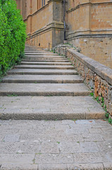 streetview in the renaissance city of pienza, italy