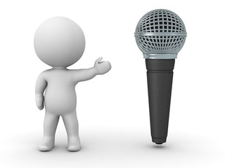 3D Character Showing Microphone