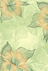 Abstract floral Background with flowers   grunge in green color
