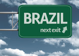 Brazil, next exit creative road sign and clouds