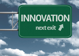 Innovation, next exit creative road sign and clouds