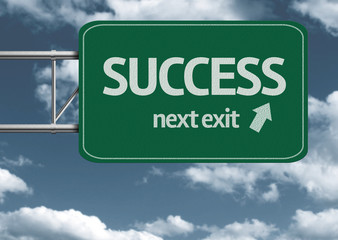 Success, next exit creative road sign and clouds