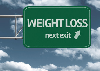 Weight Loss, next exit creative road sign and clouds