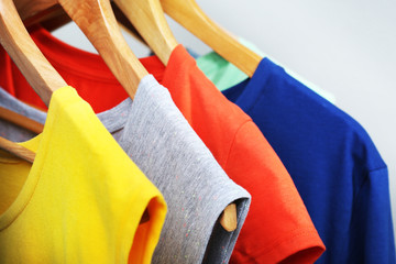 Clothes on circle hanger on light background