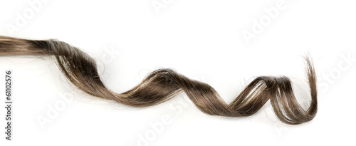 Shiny brown curl isolated on white