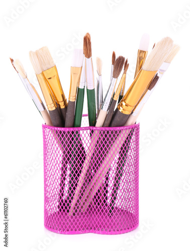 Many brushes in stand isolated on white