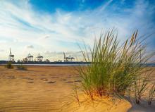 Morze Bałtyckie wydmy trawiaste i indusrtial portu Gdańsk, Polska