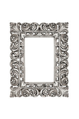 Silver picture frame over white with clipping path