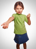 girl teen swears evil expression dissatisfied quarrel isolated o poster