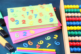Colorful numbers, abacus, books and markers