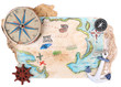 Treasure map with sea accessories, isolated on white