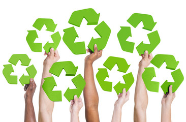 Multi-Ethnic Group of People Holding Recycling Symbol