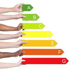 Multi-Ethnic Group of People Holding Energy Graph