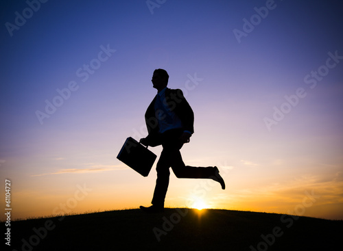 Businessman Running to Work in the Morning