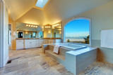 Luxuriant  bathroom with whirlpool and amazing window view