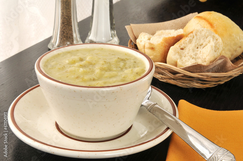 Cup of potato leek soup