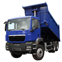The dark blue lorry