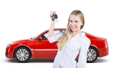 Woman with The New Car