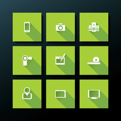 Vector flat media icon set