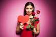 Beautiful woman with valentines day decoration