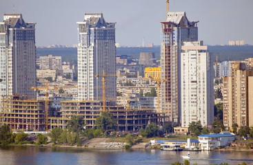 Construction of new buildings in Kiev.