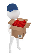 Boy postman with the box of candies to the Valentine's day