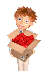 Boy with the box of candies to the Valentine's day