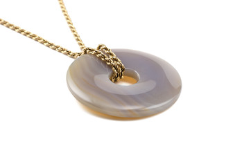 Blue lace agate stone donut on golden chain