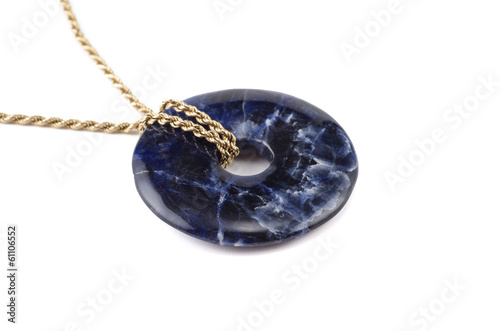 Sodalite stone donut on golden chain