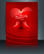 Valentine's day card heart reflection brochure template backgrou