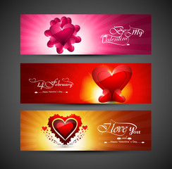 Valentines day bright colorful greeting card for three header de