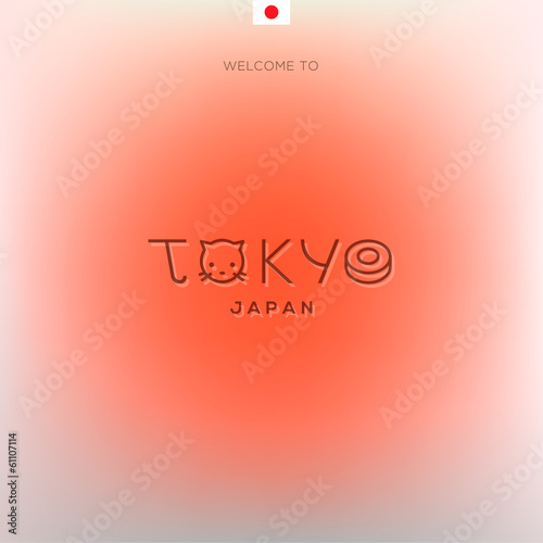 World Cities labels - Tokyo. Vector Eps10 illustration.