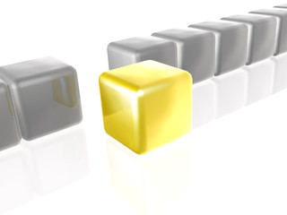 Yellow and grey cubes