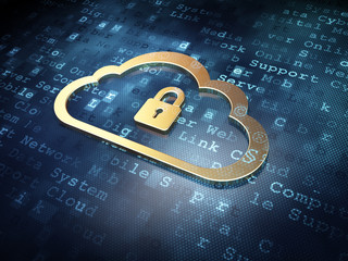 Cloud technology concept: Golden Cloud With Padlock on digital