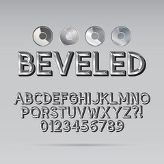 Steel Beveled Outline Font and Digit, Eps 10 Vector, Editable fo