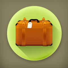 Baggage, long shadow vector icon