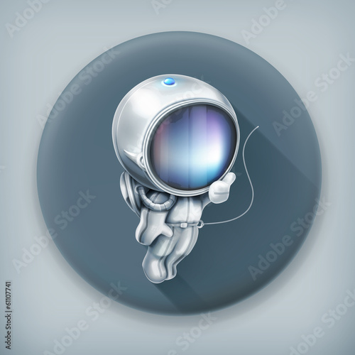 Astronaut, long shadow vector icon