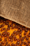 Coffee beans with sack