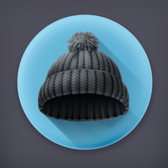 Beanie black cap, long shadow vector icon