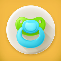 Pacifier, long shadow vector icon