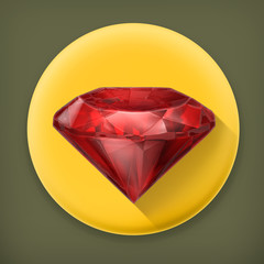 Ruby red, long shadow vector icon